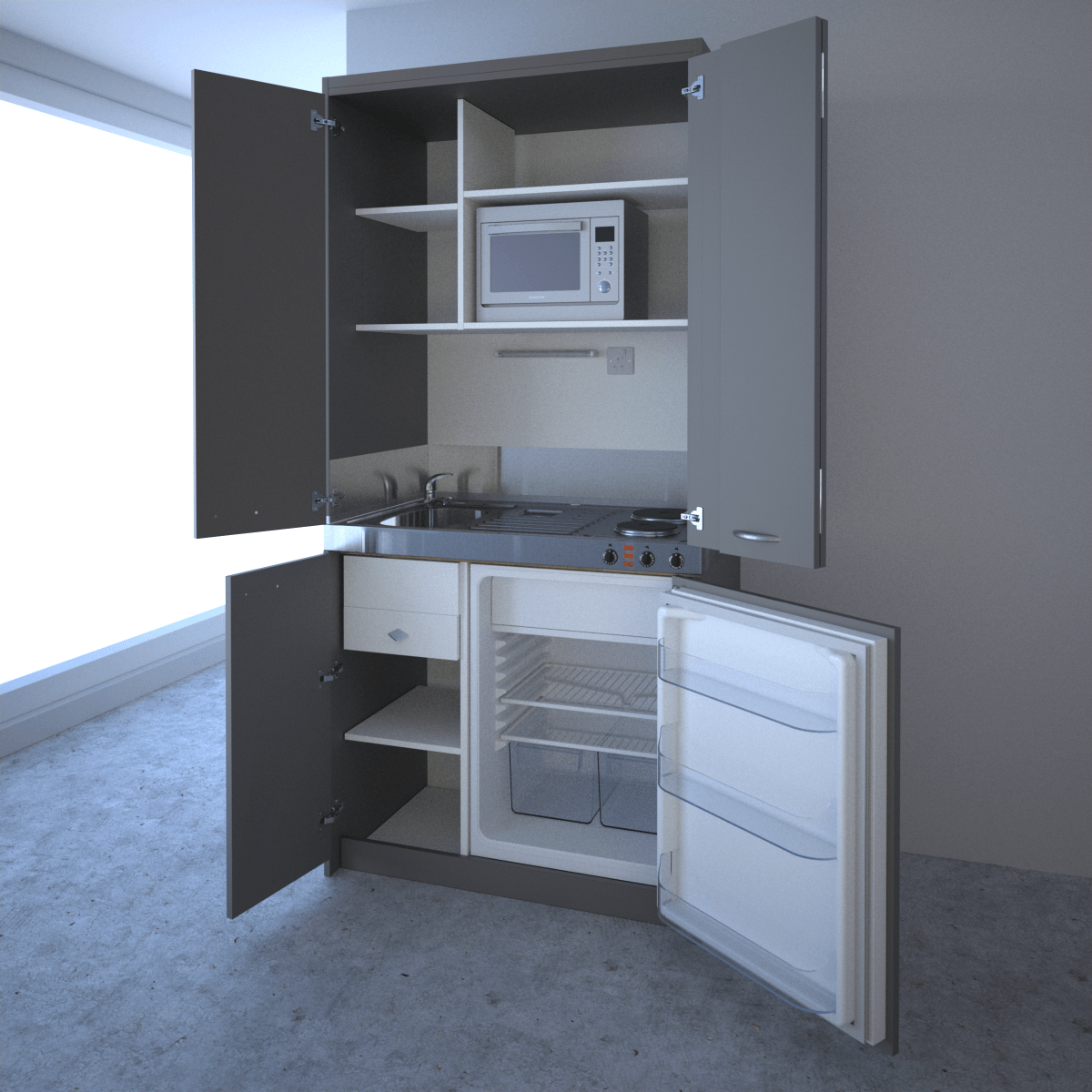 Mini Kitchenette: 1m Concealed Hideaway Kitchen With Hob