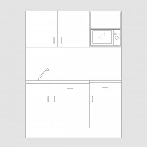 DGM043 Designer range 1.5 metre kitchenette with microwave