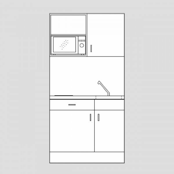 1 metre Designer range kitchenette with microwave-(Model ref: DKM043)