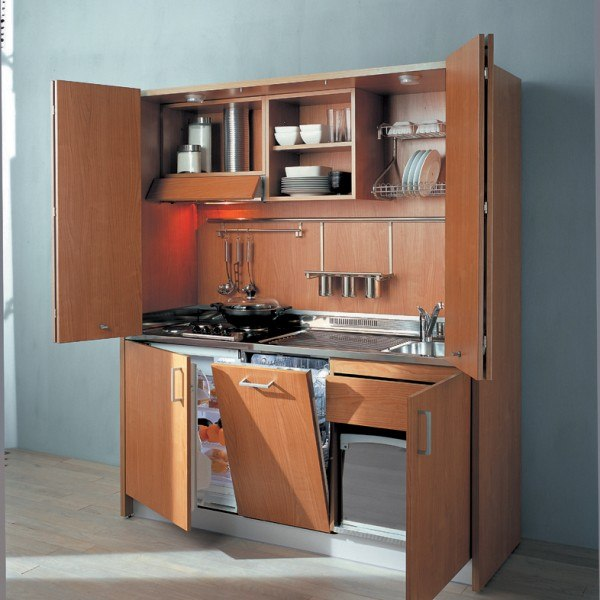 Efficiency Kitchen Units: ITH580 Italian Hideaway Kitchen With Dishwasher