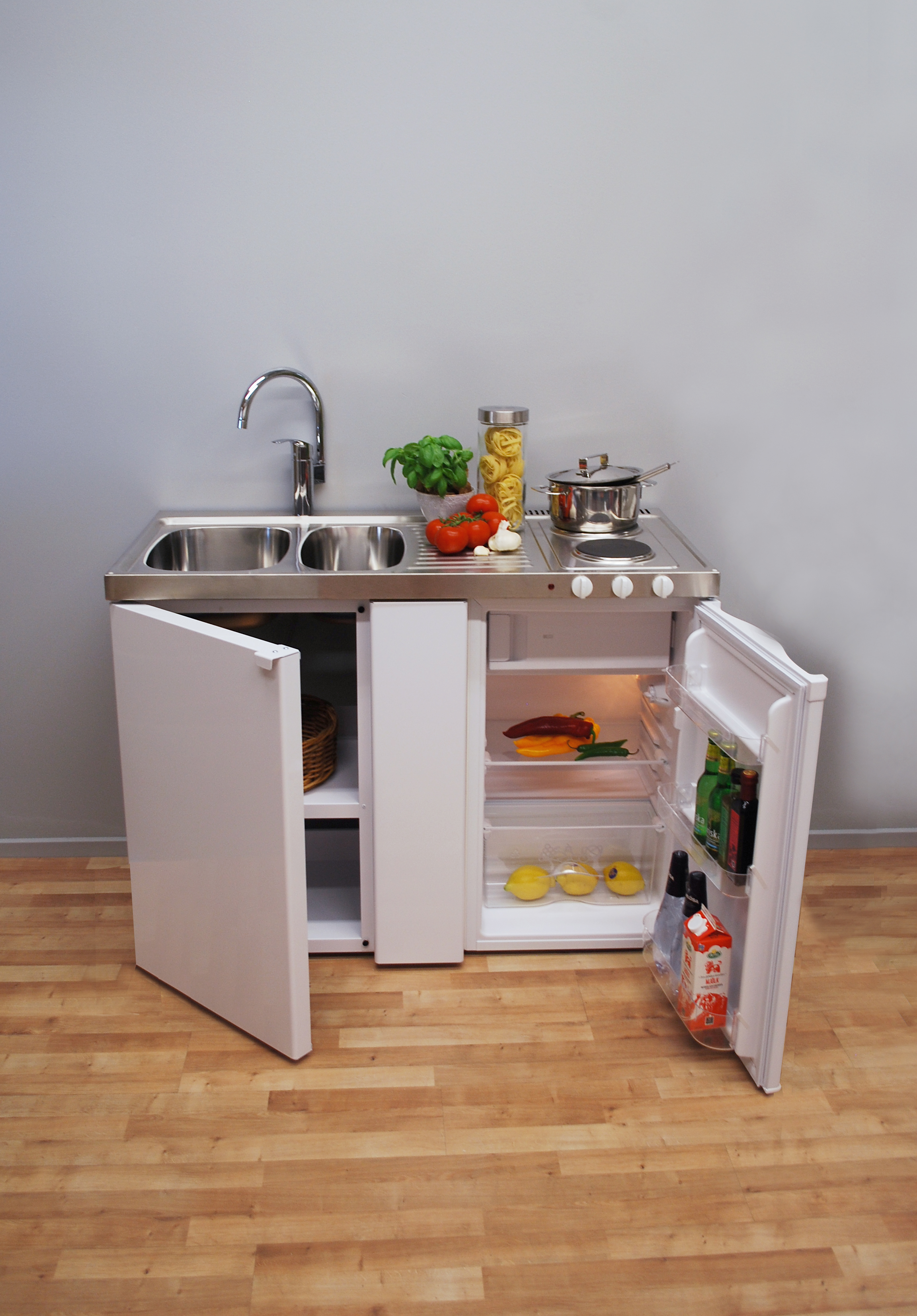 1.2 metre wide MK Mini Kitchen with hob (Model ref: EMK1200)