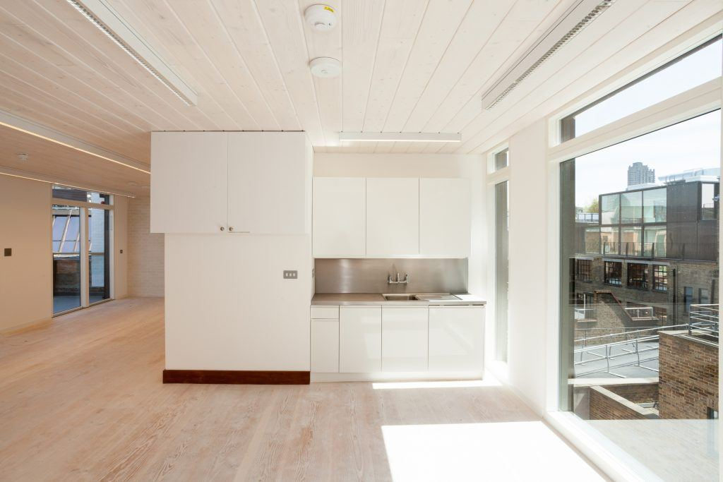 White kitchen for open plan office